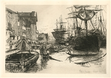 Otto Henry Bacher original etching View in Venice