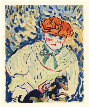 "Maurice de Vlaminck lithograph ""Woman with Dog"""
