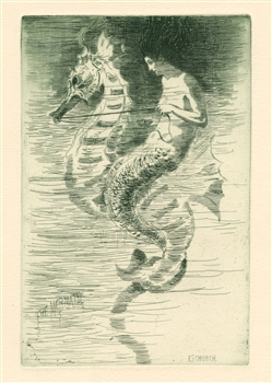 "Frederick Stuart Church original etching ""The Mermaid"""