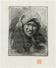 "Mortimer Menpes ""A Mexican Woman"" lithograph on japon paper"