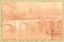 "Claude Monet etching ""Waterloo Bridge, Soliel Voilé"""