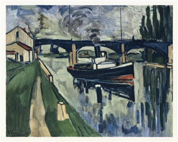 "Maurice de Vlaminck lithograph ""The Seine at Poissy"""