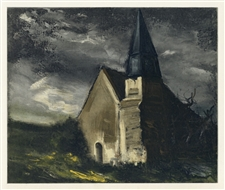 "Maurice de Vlaminck ""Church at Saint-Lubin-de-Cravant"" lithograph"