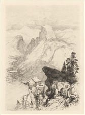 "Thomas Moran original etching ""The Half Dome - View from Moran Point"""
