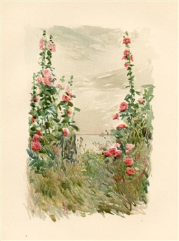 "Childe Hassam chromolithograph ""Hollyhocks in Late Summer"""