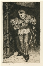 "William Merritt Chase ""Keying Up - The Court Jester"" original etching"
