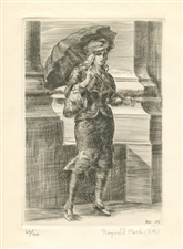"Reginald Marsh original etching ""Girl with Umbrella"""