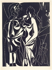 "Pablo Picasso ""Helene chez Archimede"" wood engraving"