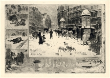 "Felix Buhot ""L'Hiver a Paris"" original etching on japon paper"