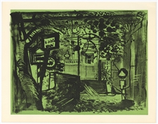 John Piper original lithograph Niton, Isle of Wight, 1955