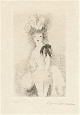 "Marie Laurencin ""Jeune Fille au noeud noir"" etching Artist's Proof"