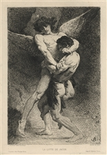 Leon Bonnat original etching lutte de Jacob, Salon 1876