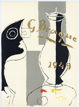 Georges Braque lithograph Vase, derriere le miroir, maeght, 1963