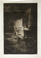 "Mortimer Menpes pencil-signed ""Cradle, Brittany"" etching"