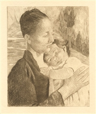 Mary Cassatt etching Mere et enfant, Cassatt Mother and Child 1892 Impressionist Art L'Art Impressionniste