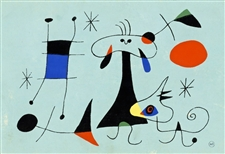 Joan Miro silkscreen for the rare 1949 Mural Scrolls project
