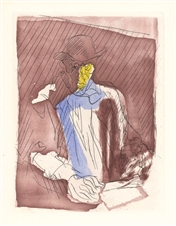 "Jacques Villon original etching and aquatint ""Self Portrait"""