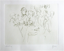 "Jack Levine signed etching ""The Wedding"""