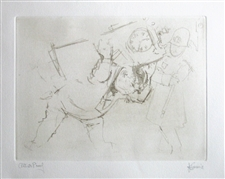 "Jack Levine signed etching ""A Wedding Gift"""