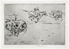 "Edmund Blampied pencil-signed ""The Tumble"" etching and drypoint"