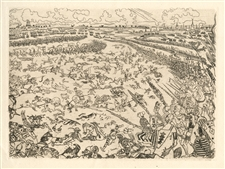"James Ensor original etching ""Bataille des Eperons D'or"""
