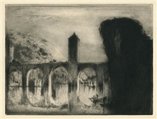 Frank Brangwyn original etching Pont Valentre, A Cahors