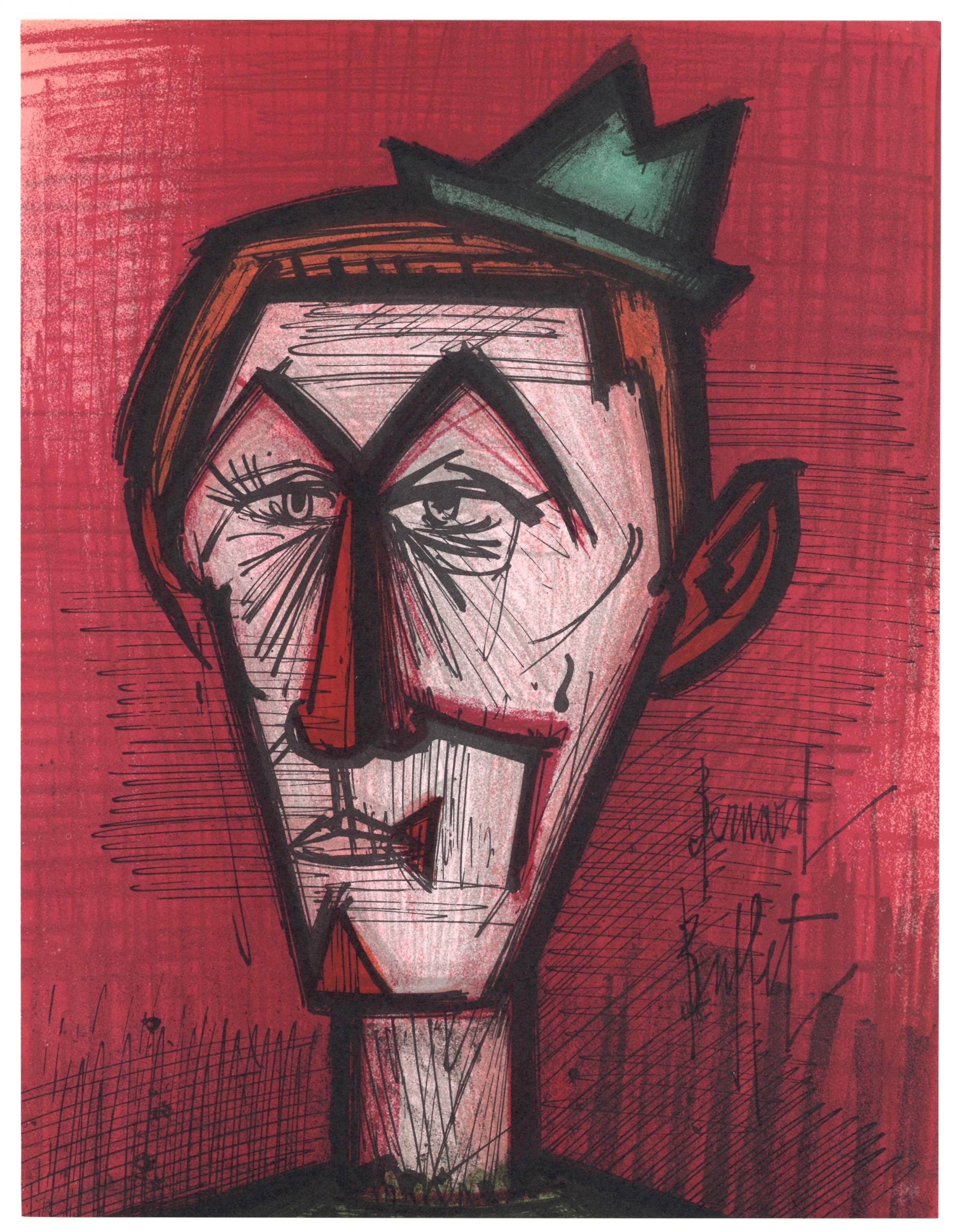 "Bernard Buffet original lithograph ""Le clown au fond rouge"""
