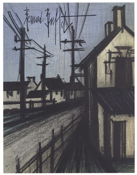 "Bernard Buffet original lithograph ""The Village Road"""