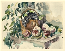 "Henri Manguin ""Nature morte, raisins et peches"" pochoir"