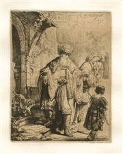 "Rembrandt van Rijn (after) ""Abraham Casting out Hagar and Ishmael"" etching"