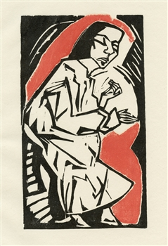 Erich Heckel Liegende original woodcut
