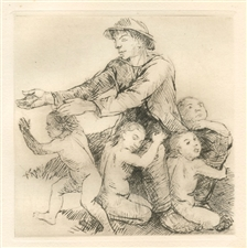 "Adolf Schinnerer original etching ""Der Kinderhirte"""