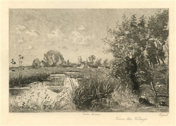 "Jean-Baptiste Corot etching ""Near the Village"""