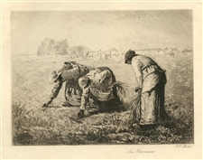 "Jean-Francois Millet etching ""Les Glaneuses"" The Gleaners"