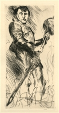 "Lovis Corinth original etching ""Der Heilige Georg"""