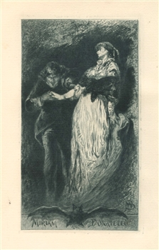 "Walter Shirlaw original etching ""Miriam and Donatello"""