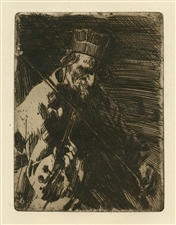 Anders Zorn original etching Village violinist