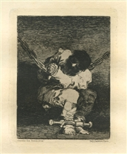 Francisco Goya original etching Le Petit Prisonier Little Prisoner