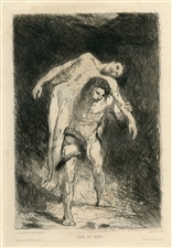 "Alexandre Falguiere original etching ""Cain and Abel"""