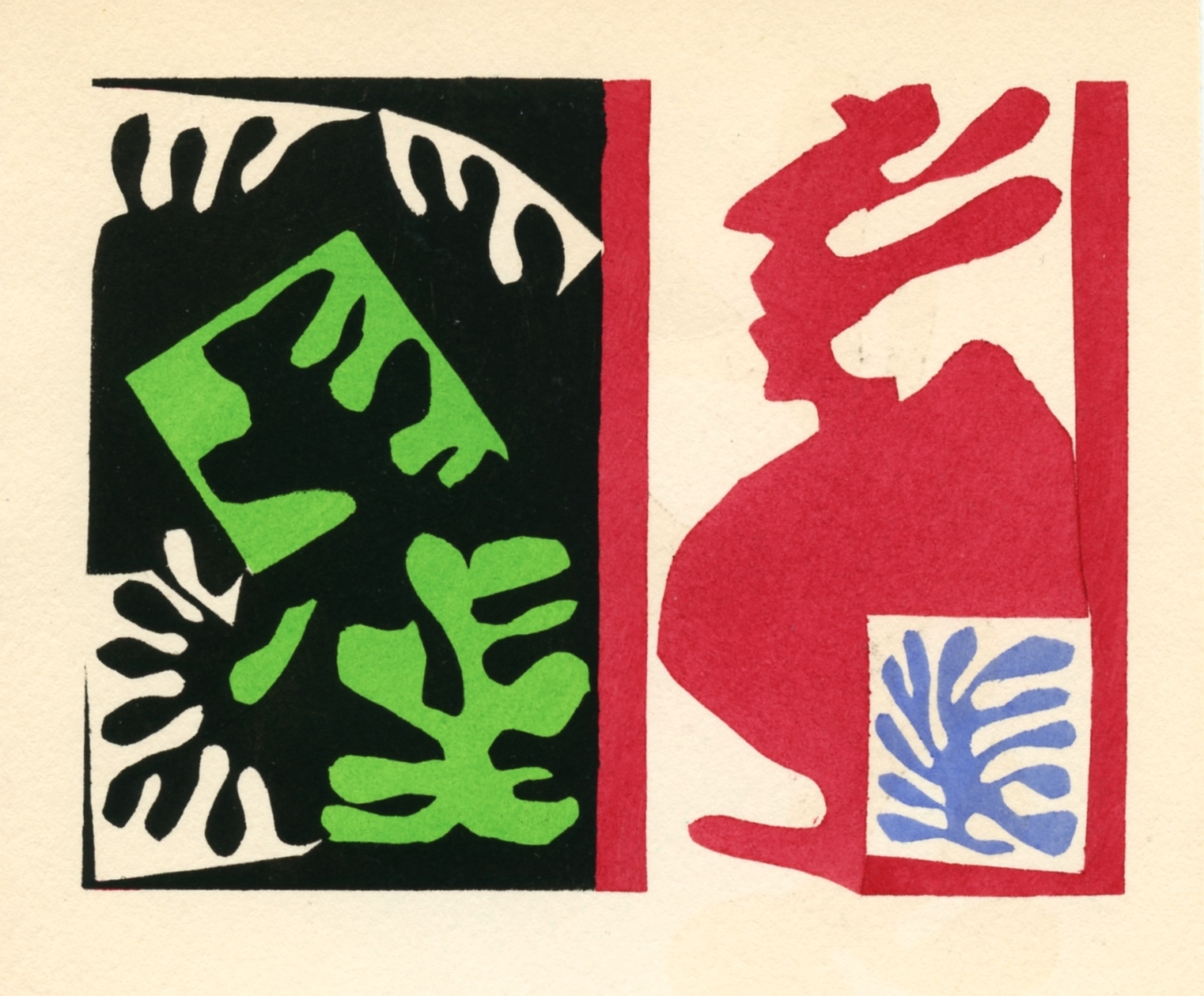 Henri matisse pochoir composition noir et rouge for Pochoir prints for sale