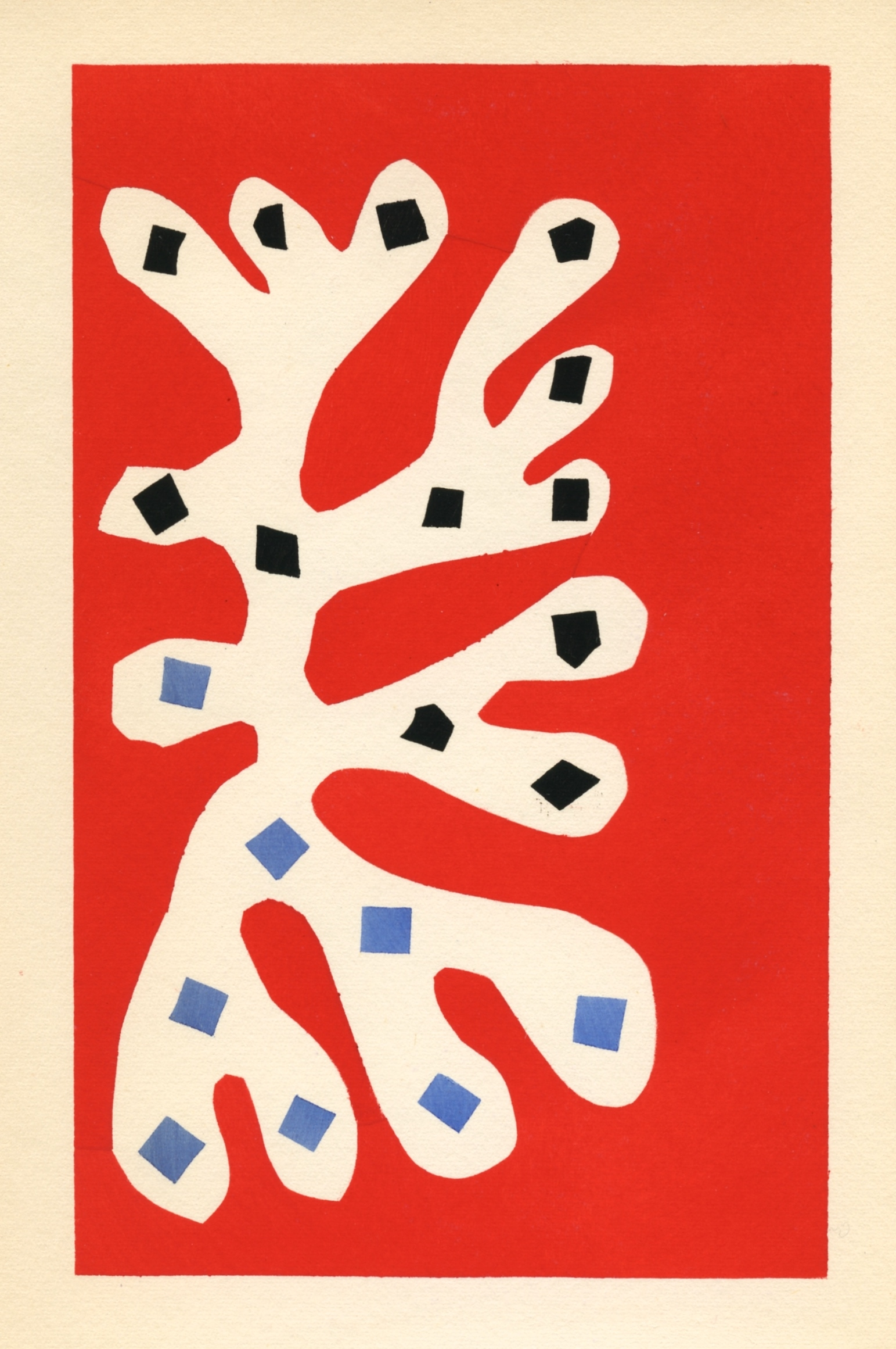 Henri matisse pochoir algue blanche sur fond rouge for Pochoir prints for sale