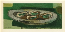 "Andre Minaux lithograph ""Plate of Oysters"""