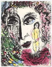 Marc Chagall original lithograph Apparition at the Circus