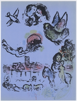 Marc Chagall original lithograph Nocturne at Vence
