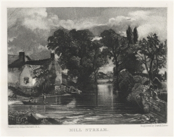 "Sir John Constable / David Lucas mezzotint ""Mill Stream"""