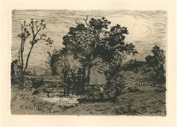 Charles Henry Miller original etching Old Mill at Valley Stream