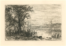 Eliza Pratt Greatorex original etching Pond At Cernay-La-Ville