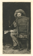 "William Merritt Chase ""The Smoker"" etching Portrait of Frank Duveneck"