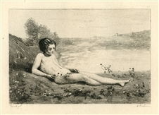 Jean-Baptiste Corot etching Jeune baigneuse couchee sur l'herbe