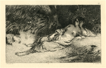 Jean-Francois Millet etching Femme couchee